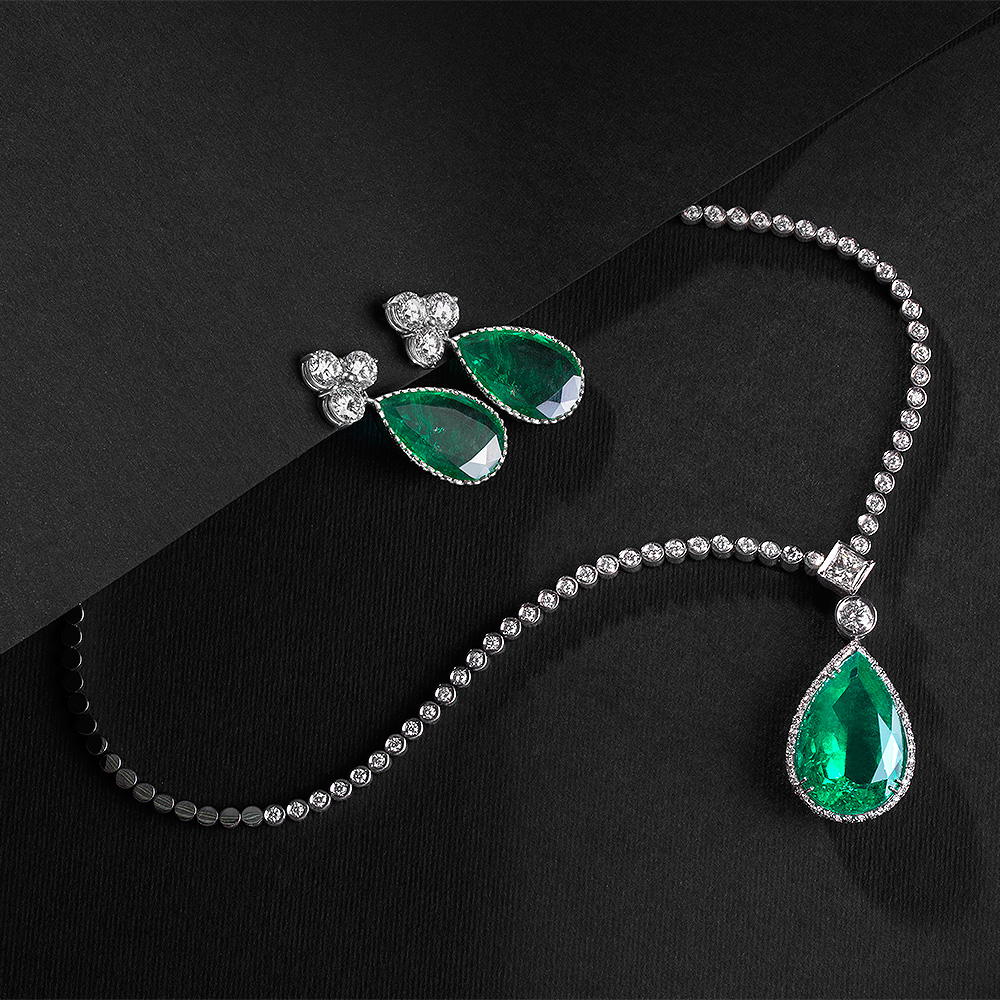 Emerald and Diamond Earring and Necklace Set - Goharbin Jewelry - Tehran, Iran